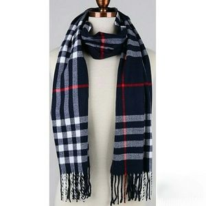 Accessories - Navy Plaid Fringe Scarf