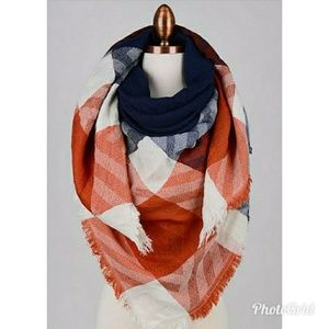 Accessories - LAST ONE!! Orange and Navy Plaid Scarf