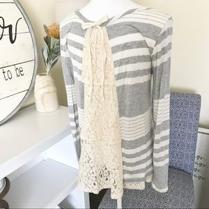 Lace Layered & Striped Long Sleeve