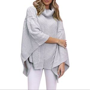Sweaters - Cable knit terry poncho