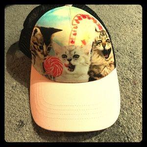 Accessories - Cute black & pink SnapBack hat. Cats having fun