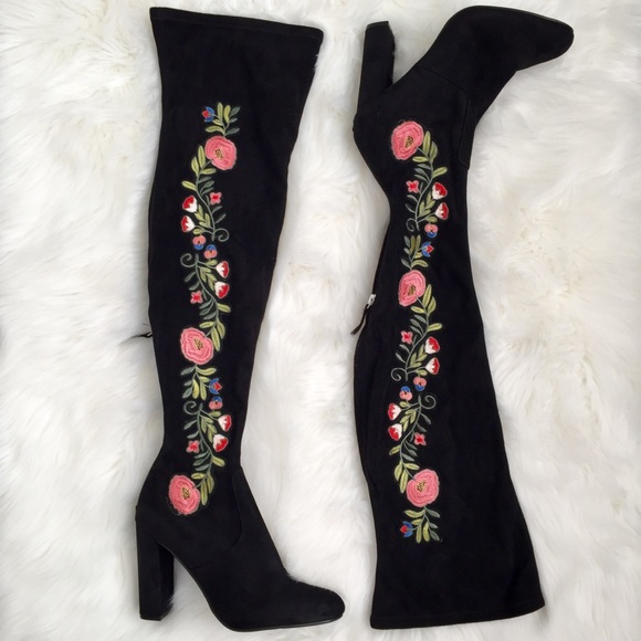 3c46c886879 Evoke Black Suede Embroidered Over the Knee Boot