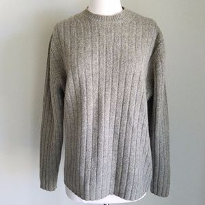 Gap Mens Lambswool Beige & Gray Ribbed Sweater