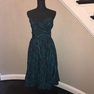 ABS Allen Swartz Crinkled Metallic Cocktail Dress