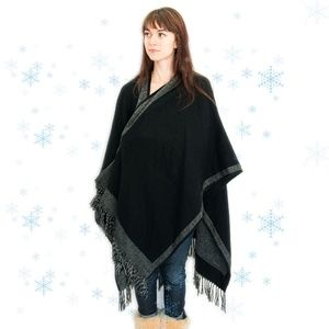 Reversible Black and Grey Large Cape