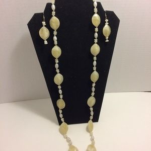 Fashion Opal Stones Necklace Earring Set