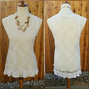 Sexy White Floral Lace Summer Tank