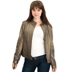 Leather Gold Bronze Jacket from Alfani