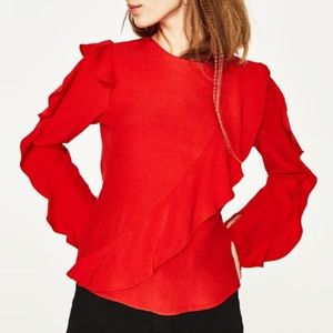 Zara red frilled top
