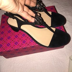 76384ab90 Tory Burch Shoes - Tory Burch Violet Black Soho Lux Suede Sandals 11