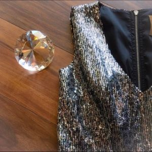 Ali Ro Silver Sequined Dress