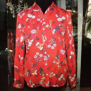 Loft Red floral blouse women's petite x small