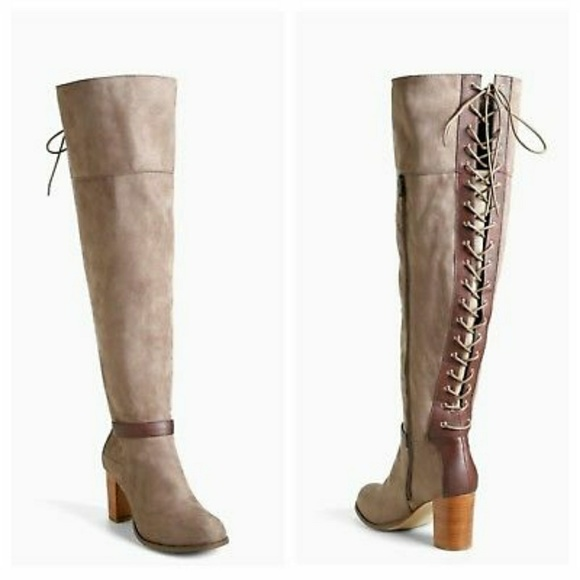 568fae480e5 Lace Up Back Over the Knee Boots Wide Width   Calf.  M 59d0ff7678b31c28b80929a4