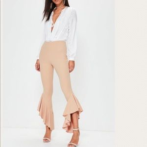 Missguided Asymmetric Frill Pants in camel