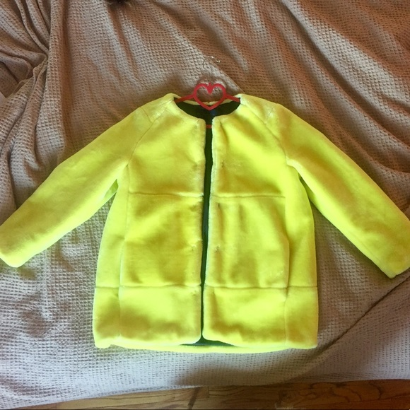 8124ea1a Zara Jackets & Coats | Bright Yellow Faux Fur Coat Rare | Poshmark