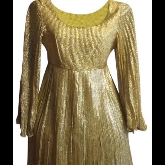 Vintage Dresses & Skirts - Vintage Gold Lame Dress