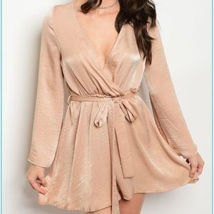 c3856392610bc Dresses & Skirts - Nude Satin Wrap Dress (S-M-L)