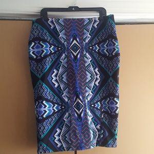 Multiprint pencil skirt