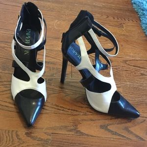 Black and white scrappy heels