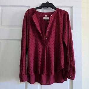 EUC LOFT Red Polka Dot Henley Cotton Shirt XSP