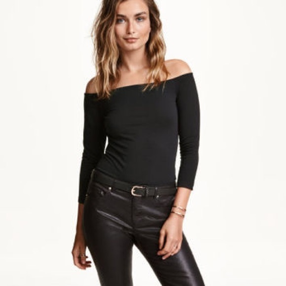 a8989e3dff36b4 H&M Tops | Hm Black Long Sleeve Ribbed Off Shoulder Top Xs | Poshmark