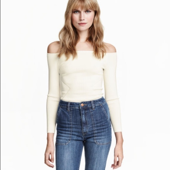 2e8ce7ad92eef7 H&M Tops | Hm White Ribbed Long Sleeve Off Shoulder Top Xs | Poshmark