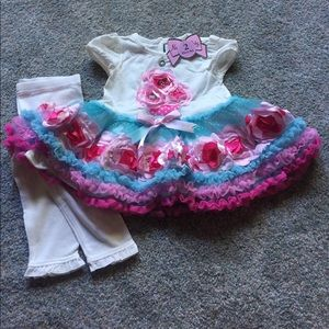 Nanette Baby 12M Cupcake Flowers & Ruffles Outfit
