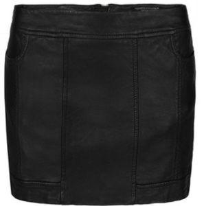 All Saints Biker Leather Skirt in Black