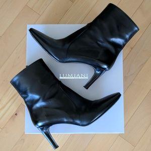 EUC Lumiani Black Nappa Leather Booties, Size 7