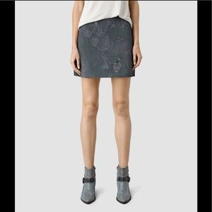 All Saints Nathalie Floral Embroidered Suede Skirt