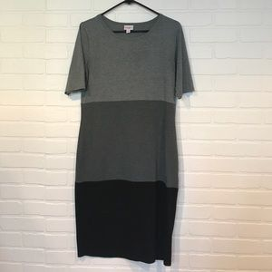LuLaRoe Julia M in black and gray color block