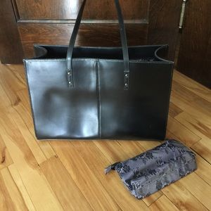 Wilsons black leather tote. Flaws.