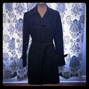 🍁Kenneth Cole Black Trench Coat, Sz M