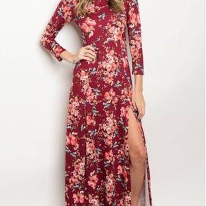 NWOT Burgundy Floral Maxi Dress