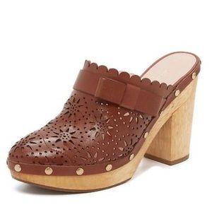 Kate Spade calla brown chunky heel clog
