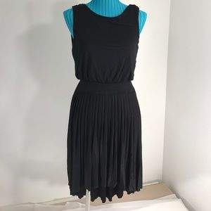 Esley black high low dress with purple open back