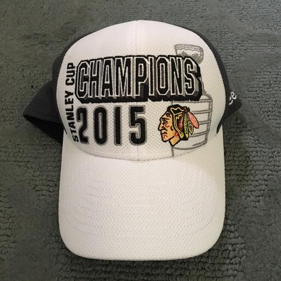 534d9934ec5ae Chicago Blackhawks 2015 Stanley Cup Champions Hat.  M 59d1390d620ff7c2330a2e93