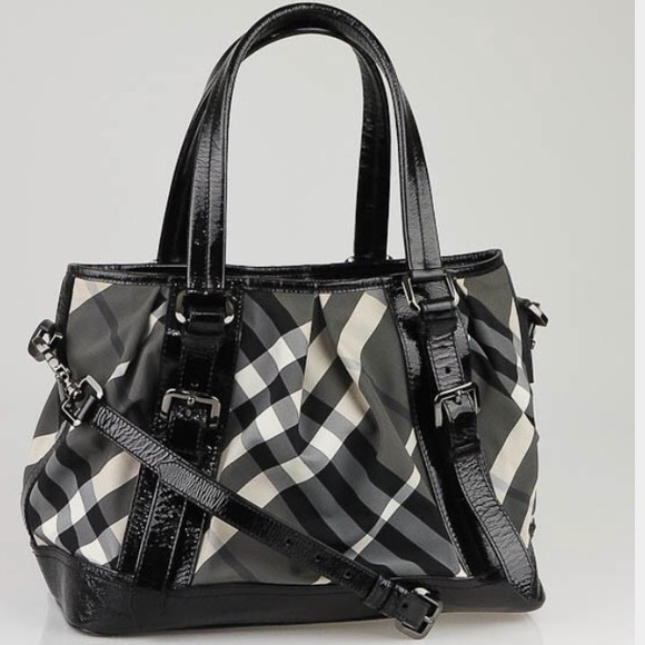 a183184f Burberry Bags | Black Beat Check Canvas Medium Lowry Bag | Poshmark
