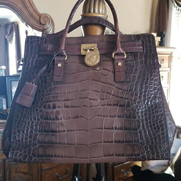 021291317afaaf Michael Kors Collection Bags | Mk Michael Kors Hamilton Brown Croc ...