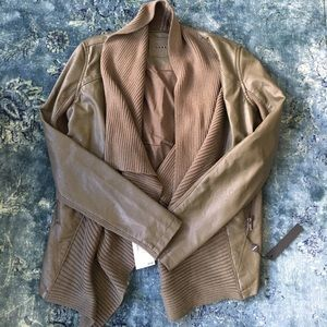 Army green leather blazer/sweater with tags!