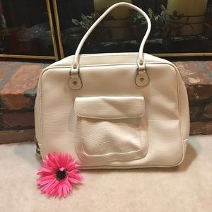Handbags - Creme Faux Croc Laptop Tote