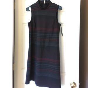 NWT AB Studio collar dress blk/red/gray