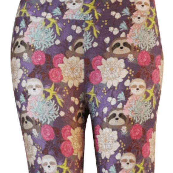 71208d513ae9d2 Charlie's Project (not Lularoe) Pants | Floral Tree Sloths Leggings ...