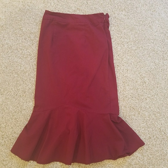 81a45c2187 Skirts | Dark Red Pencil Skirt That Flares At Bottom | Poshmark