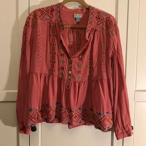 Pretty Plenty By Tracy Reese pink silk blouse
