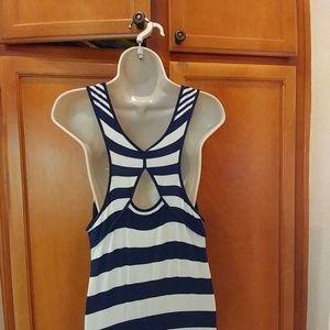 Delletta Dresses - Blue and cream strip maxi dress