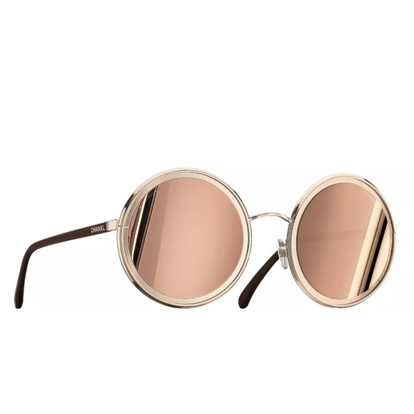 3437c02bbec5 New 2017 Chanel 18k Rose Gold Round Sunglasses