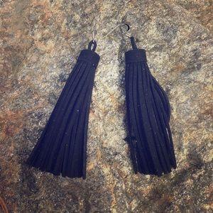 Jewelry - Sale Black Leather Tassel Earrings w/ Silver Hooks