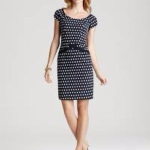 Nanette Lepore First Place navy polka dot dress