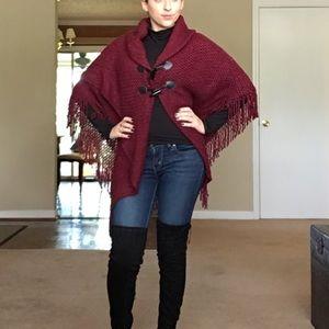 Saks Fifth Avenue Burgundy wrap sweater